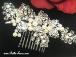 Ginevra - Royal Collection stunning swarovski crystal pearl wedding hair comb - SPECIAL - one left