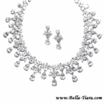 GLAMOROUS Cubic Zirconia CZ drop Bridal Necklace set - SALE