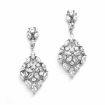 Glamorous Cubic Zirconia Wedding Earrings Marquis Mosaic