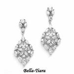 Glamorous CZ Wedding Earrings with Marquis Mosaic