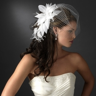GLAMOROUS feather flower with cage veil - SALE!!