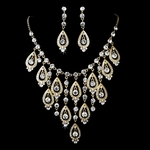 Glamorous statement gold rhinestone necklace set - SALE