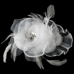 Glamorous wedding flower feather hair clip - SALE