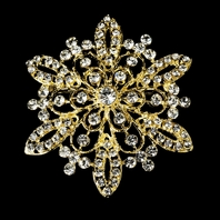 Gold Rhinestone Bridal Brooch - Sale!!
