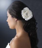 Gorgeous bold Soft sheer creamy white flower hair pin