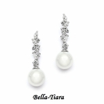 Gorgeous Cascading CZ Bridal Earrings with Soft Cream Pearls