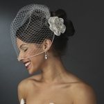 Gorgeous crystal Flower Hair Comb with cage veil - SPECIAL!!