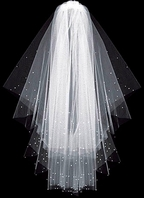 Gorgeous Custom 2-tier Scattered crystal cathedral wedding veil - SPECIAL
