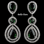 Gorgeous Emerald Teardrop CZ Dangle Earrings