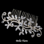 Gorgeous Gold Clear Rhinestone Swirl Leaf Wedding Hair Comb