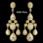Gorgeous Gold Clear Teardrop CZ Crystal Chandelier Earrings