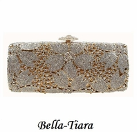 NEW!! Gorgeous Gold & Silver Swarovski Crystal Evening Clutch
