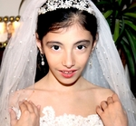 Italian Collection - Gorgeous 2 tier scattered crystal communion veil - SALE