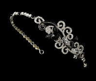 GORGEOUS modern Black and Clear crystal Headband