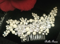 GORGEOUS - Mon Cheri designer pearl and crystal wedding comb - CLEARANCE - Sold