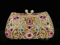 Gorgeous Multi color swarovski crystal evening clutch purse bag - SALE