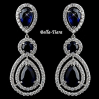 Royal Collection - Gorgeous Sapphire Teardrop CZ Dangle Earrings
