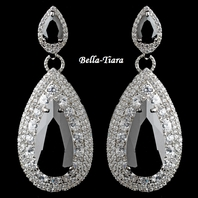 Gorgeous Silver Black Teardrop CZ Drop Earrings