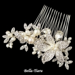 NEW!! Gorgeous Silver Clear Freshwater Pearl & Rhinestone Flower Hair Comb