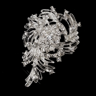 Gorgeous Silver Clear Rhinestone Brooch