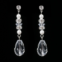 Gorgeous Silver Clear Rhinestone & Crystal Dangle Earrings