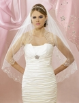 Gorgeous!!! Silver embroidered crystal edge veil - SALE!!