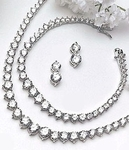 Graceful Elegance CZ Tennis Wedding Necklace Set -    AMAZINGLY PRICED!!