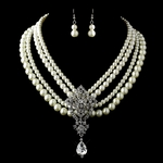 Gracie - Vintage ivory pearl wedding neclace set - SALE