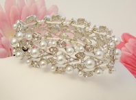 Harmony-Beautiful white Stretch Vine Pearl Bridal Bracelet -- SPECIAL one left