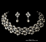Harmony - Gorgeous pearl vine choker collar wedding necklace set - SPECIAL