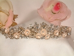 Heirloom-Champagne Rose Bouquet Crystal Tiara