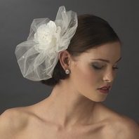Ingrid - Gorgeous wedding rose ivory hair flower with veil - SALE
