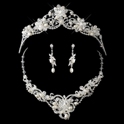 Iris - Classical Royal freshwater pearl crystal wedding tiara - SPECIAL