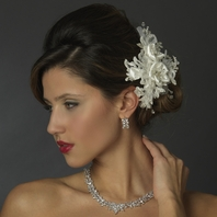 Isa - Crystal, Rhinestone, Lace & Organza wedding Flower Clip - sale
