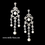 Isabetta-Elegant crystal and pearl bridal chandelier Earrings - sale