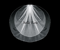 Italian collection - Elegant beads and flat crystal communion veil - SALE