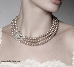 Italian collection Sterling silver pearl crystal ivory wedding necklace set - SPECIAL