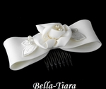 Ivory Pearl flowergirl hair bow headpiece - SALE