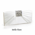 Ivory Satin Clutch with Pleats & Bejeweled Accent