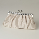 Ivory Satin Rhinestone Evening Bag - SALE