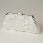 Ivory Satin Rhinestone Wedding purse - SALE