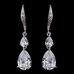 Jamena - Elegant tear drop CZ wedding earrings - SALE