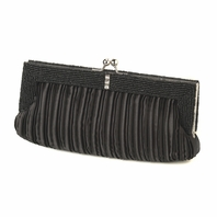 Jane - Elegant black satin beaded clutch evening bag - SALE