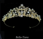 CRISTINA- Gold Crystal Tiara with Pearl Accents - special