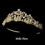 Jasmina - Gold Crystal Tiara with Pearl Accents