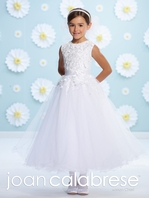 Joan Calabrese-116364-beaded lace Communion Dress - Size 8 Ready to Ship- FREE VEIL - FREE SHIPPING
