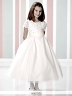 Joan Calabrese 216312 - Two piece communion dress with jacket Size 7 READY TO SHIP-- FREE VEIL