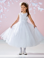 Joan Calabrese Designer beaded Communion Dress 117350- SIZE 6x  READY TO SHIP --  FREE VEIL - FREE SHIPPING