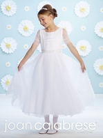 Joan Calabrese illusion sleeves beaded Communion Dress-116385 - FREE VEIL