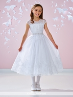 Joan Calabrese - BEAUTIFUL Satin tulle lace communion dress - 117341 - FREE VEIL
